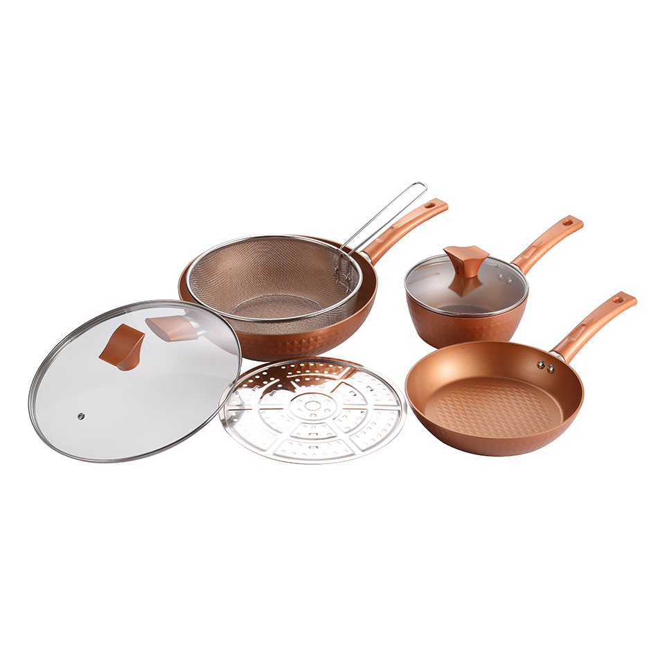 La Gourmet Copper Diamond 5pc Cookware Set Cookware Pots And Pans Cooking Utensils Kitchen Appliances Bakeware
